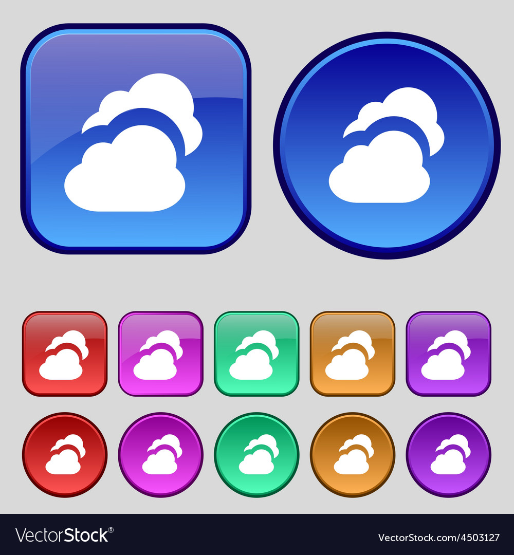 Cloud icon sign a set of twelve vintage buttons vector | Price: 1 Credit (USD $1)