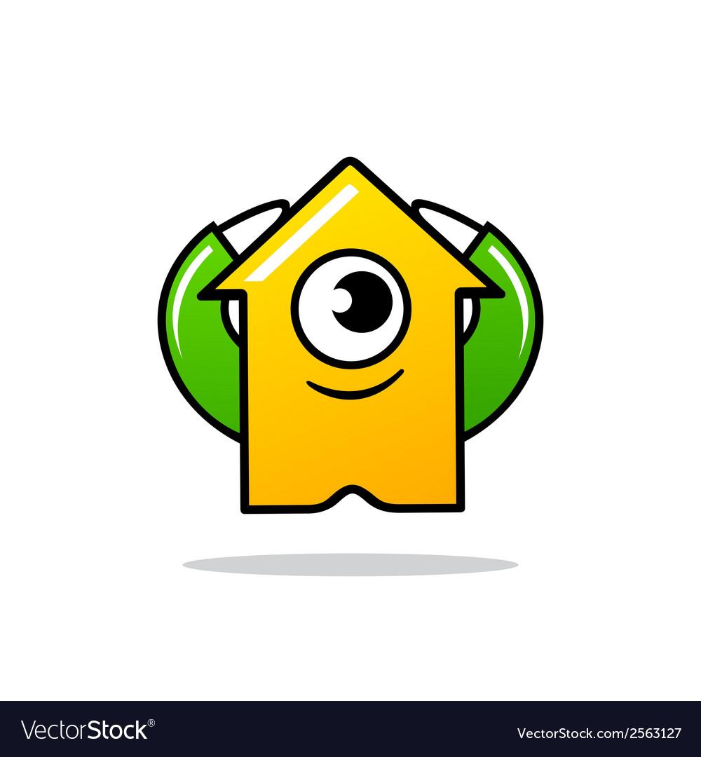 Cyclops character arrow sign vector | Price: 1 Credit (USD $1)