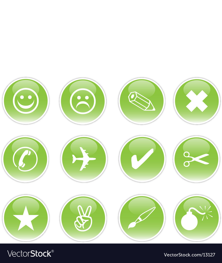 Green icons vector | Price: 3 Credit (USD $3)