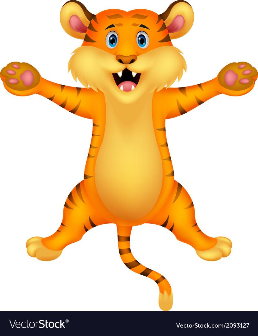 Happy tiger cartoon vector   Price: 1 Credit (USD $1)