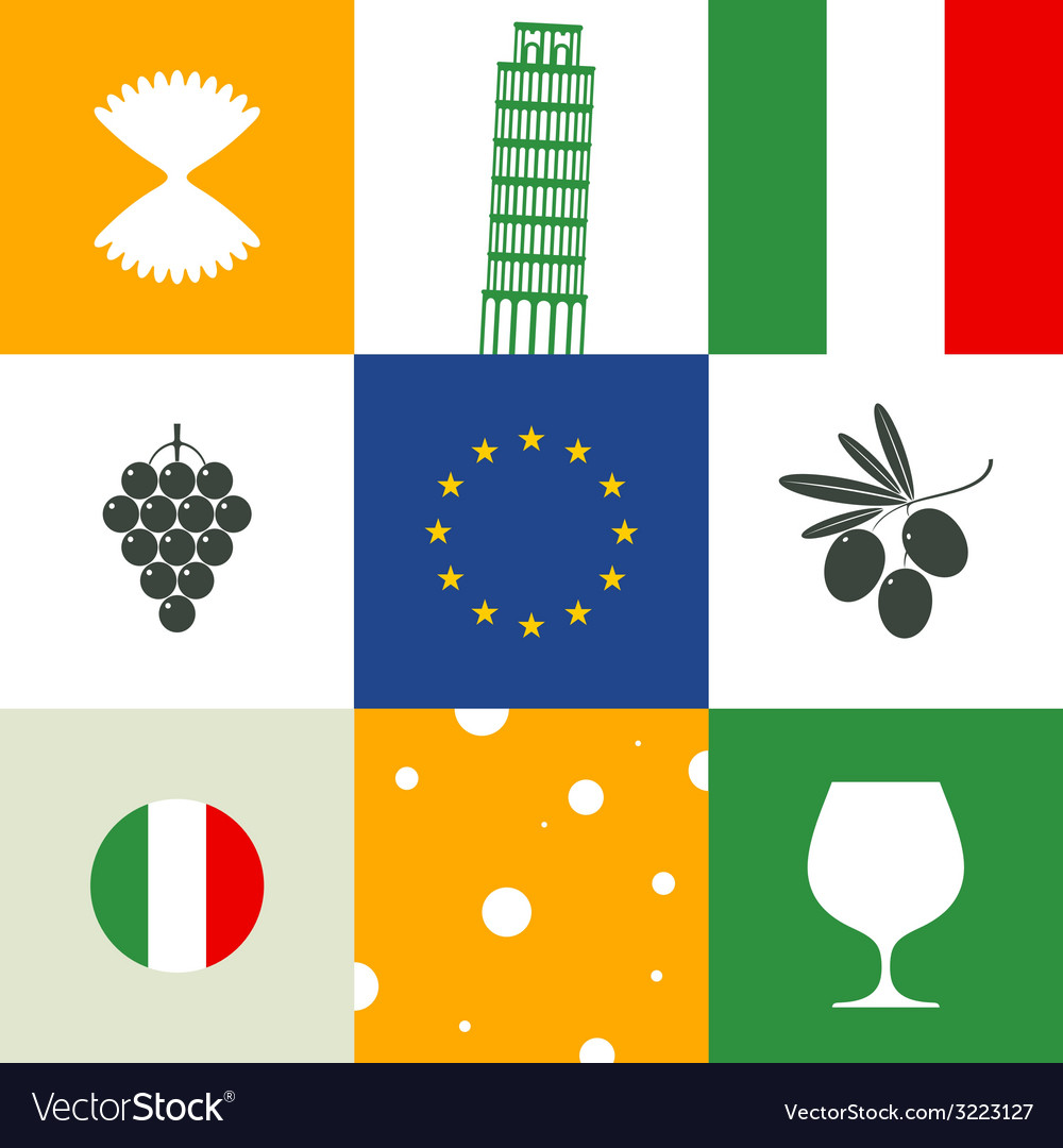 Italy icon set vector | Price: 1 Credit (USD $1)