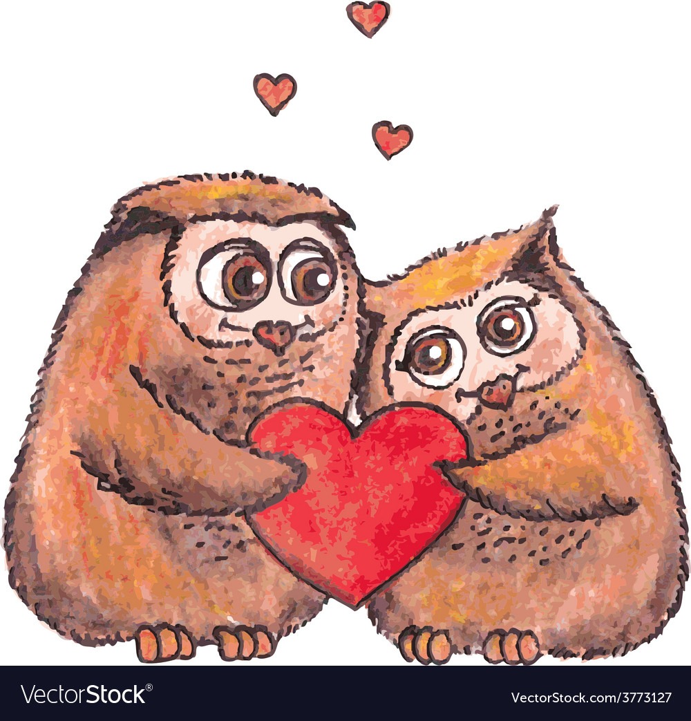 Owls in love with heart watercolor vector | Price: 1 Credit (USD $1)
