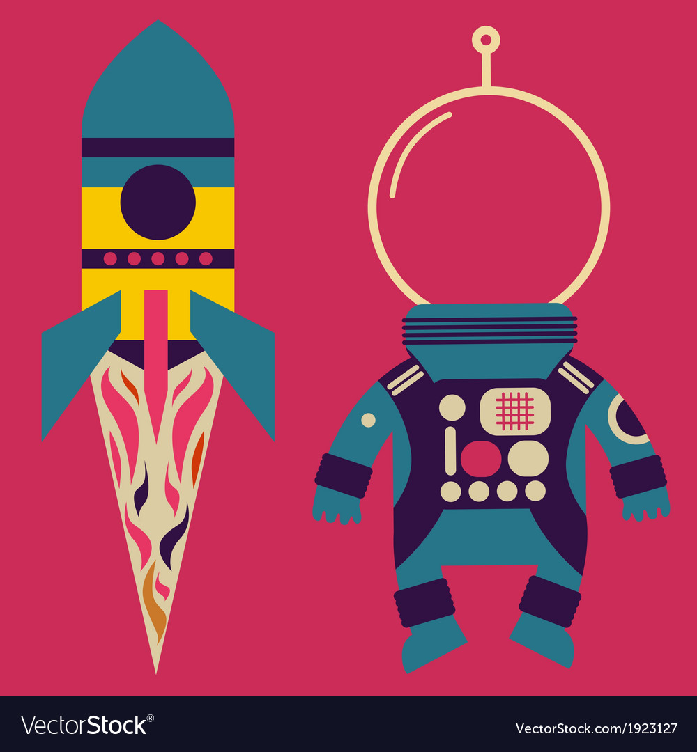 Rocket and astronaut costume vector | Price: 1 Credit (USD $1)