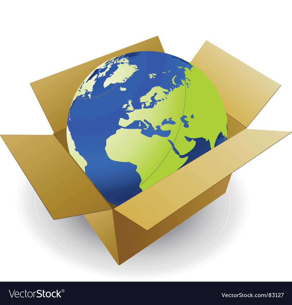 World in box vector | Price: 1 Credit (USD $1)