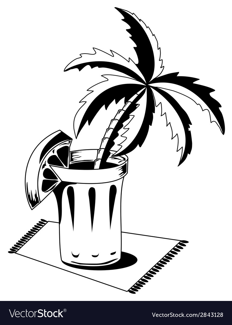 Black and white glass with palm vector | Price: 1 Credit (USD $1)