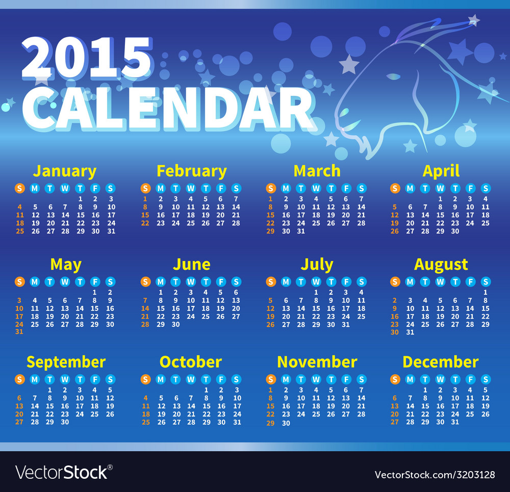 Calendar 2015 blue colour vector | Price: 1 Credit (USD $1)
