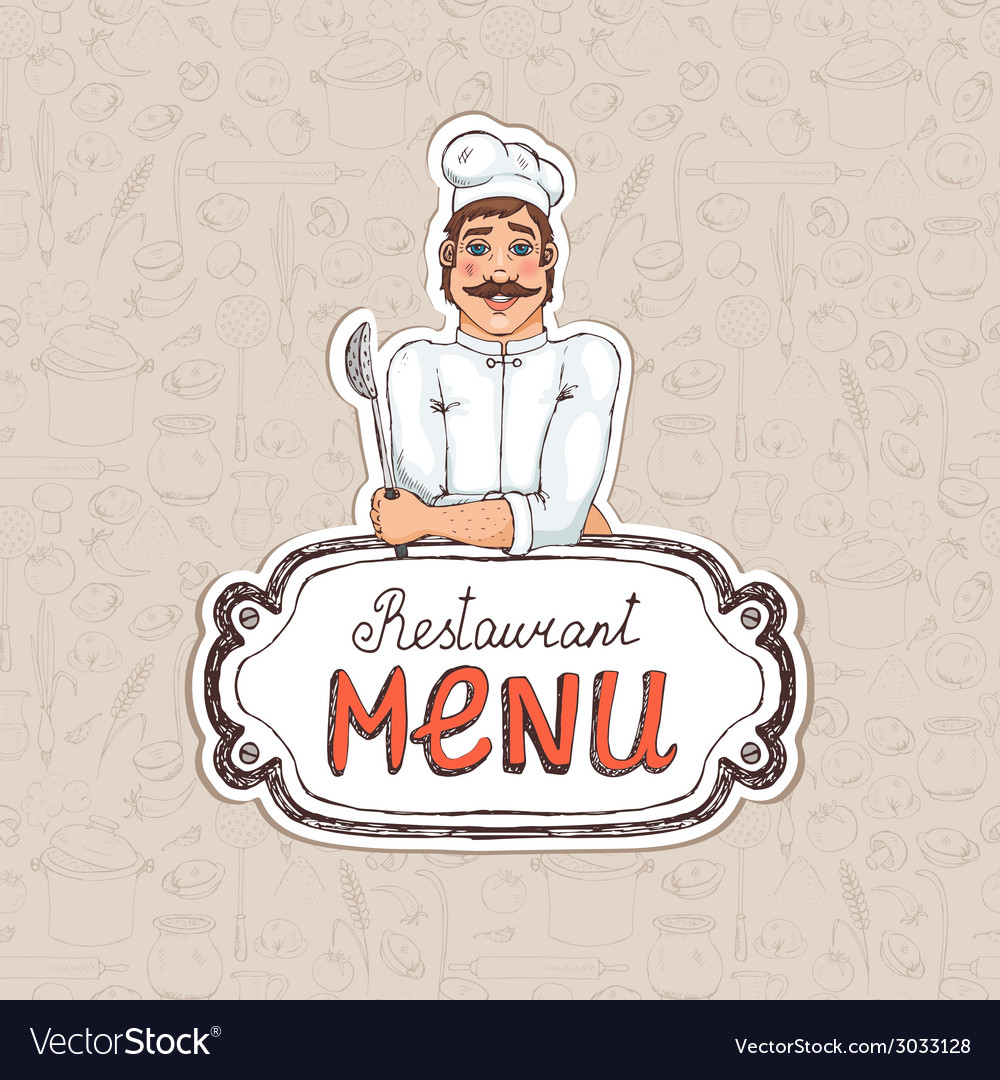 Chef holding spoon on restaurant menu vector | Price: 1 Credit (USD $1)