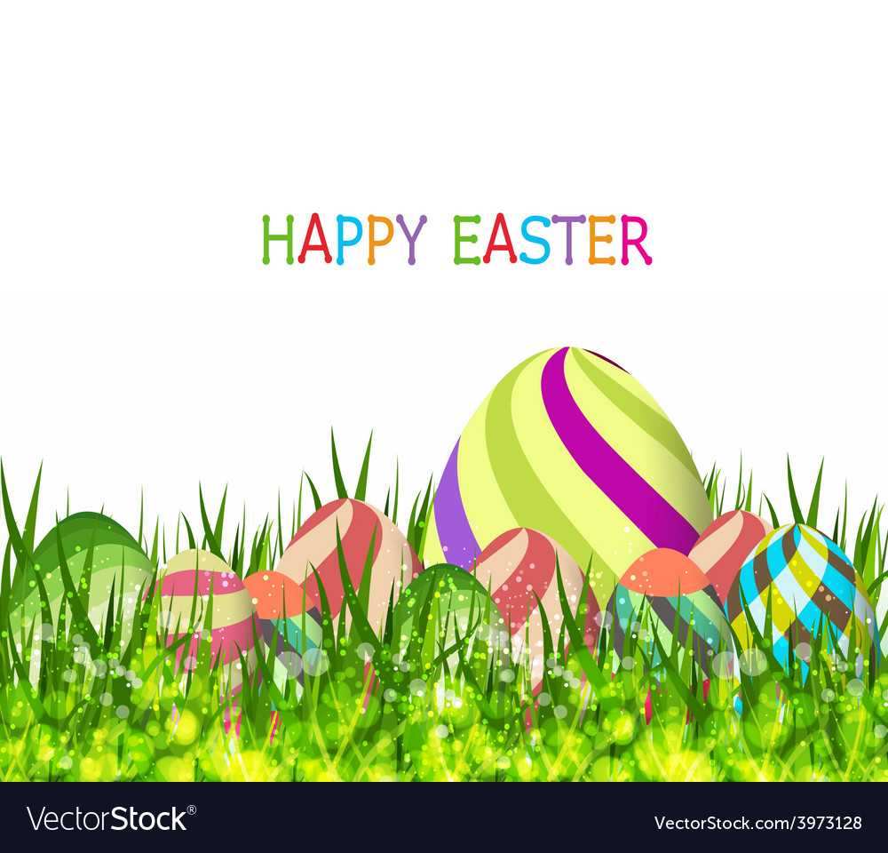 Happy easter eggs spring background with grass vector | Price: 1 Credit (USD $1)