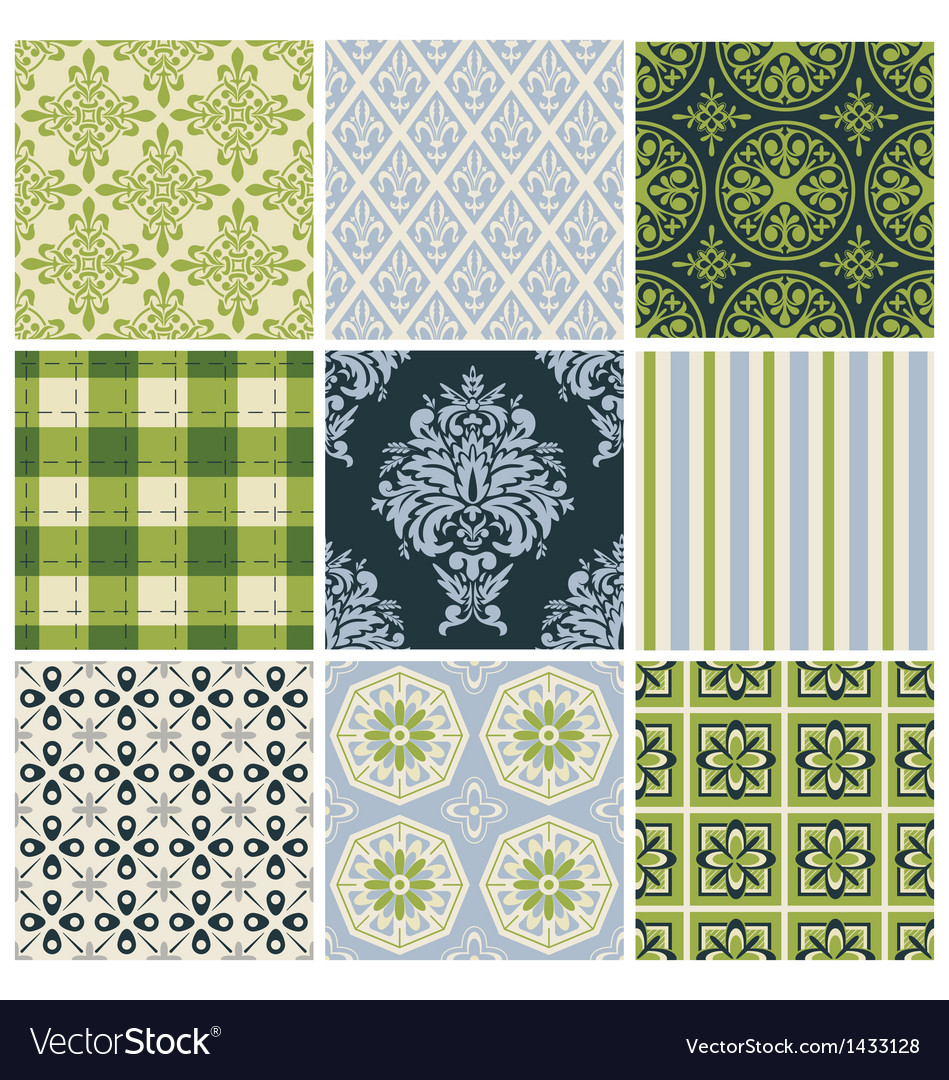 Set of nine colorful seamless patterns vector | Price: 1 Credit (USD $1)