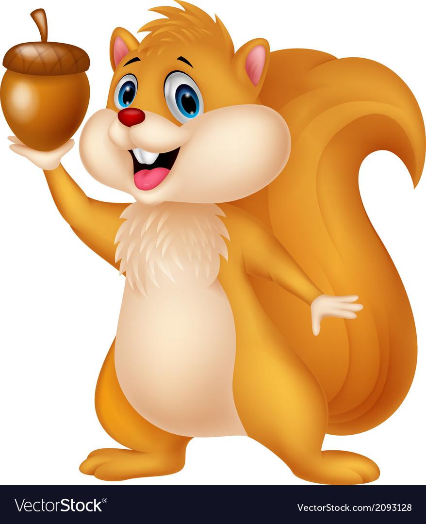 Squirrel cartoon with nut vector | Price: 1 Credit (USD $1)