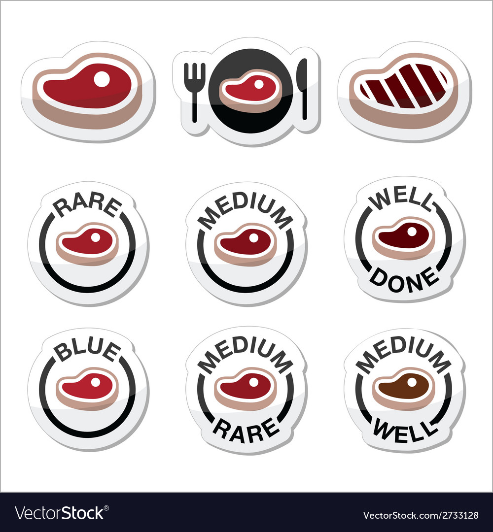 Steak - medium rare well done grilled icons set vector | Price: 1 Credit (USD $1)