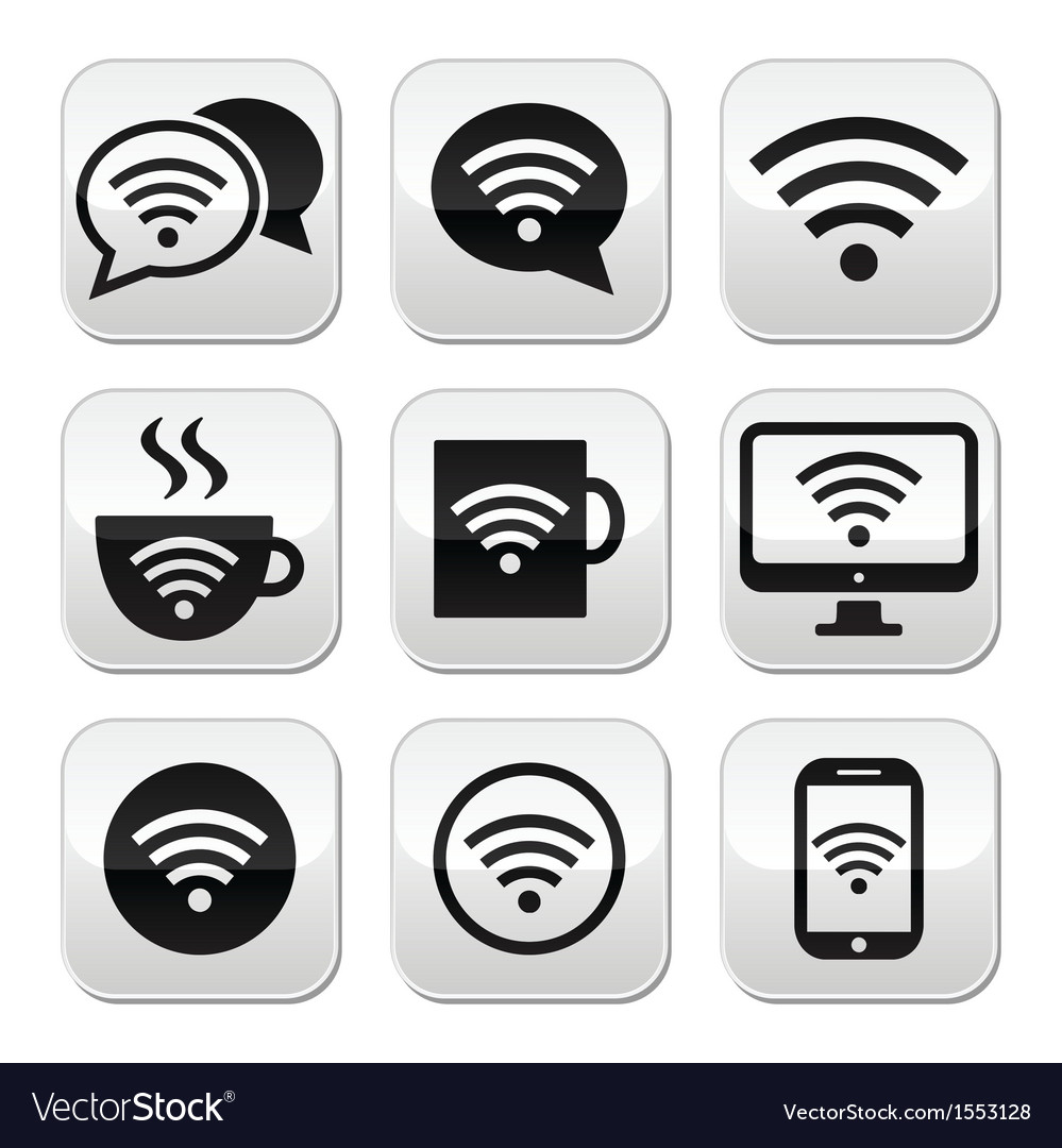 Wifi internet cafe wifi buttons set vector | Price: 1 Credit (USD $1)
