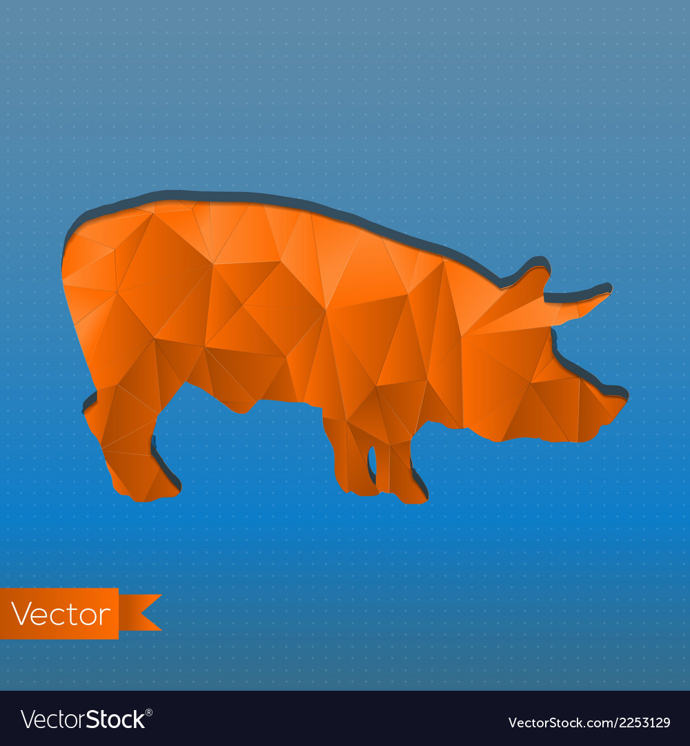 Abstract triangular stamp orange pig vector | Price: 1 Credit (USD $1)