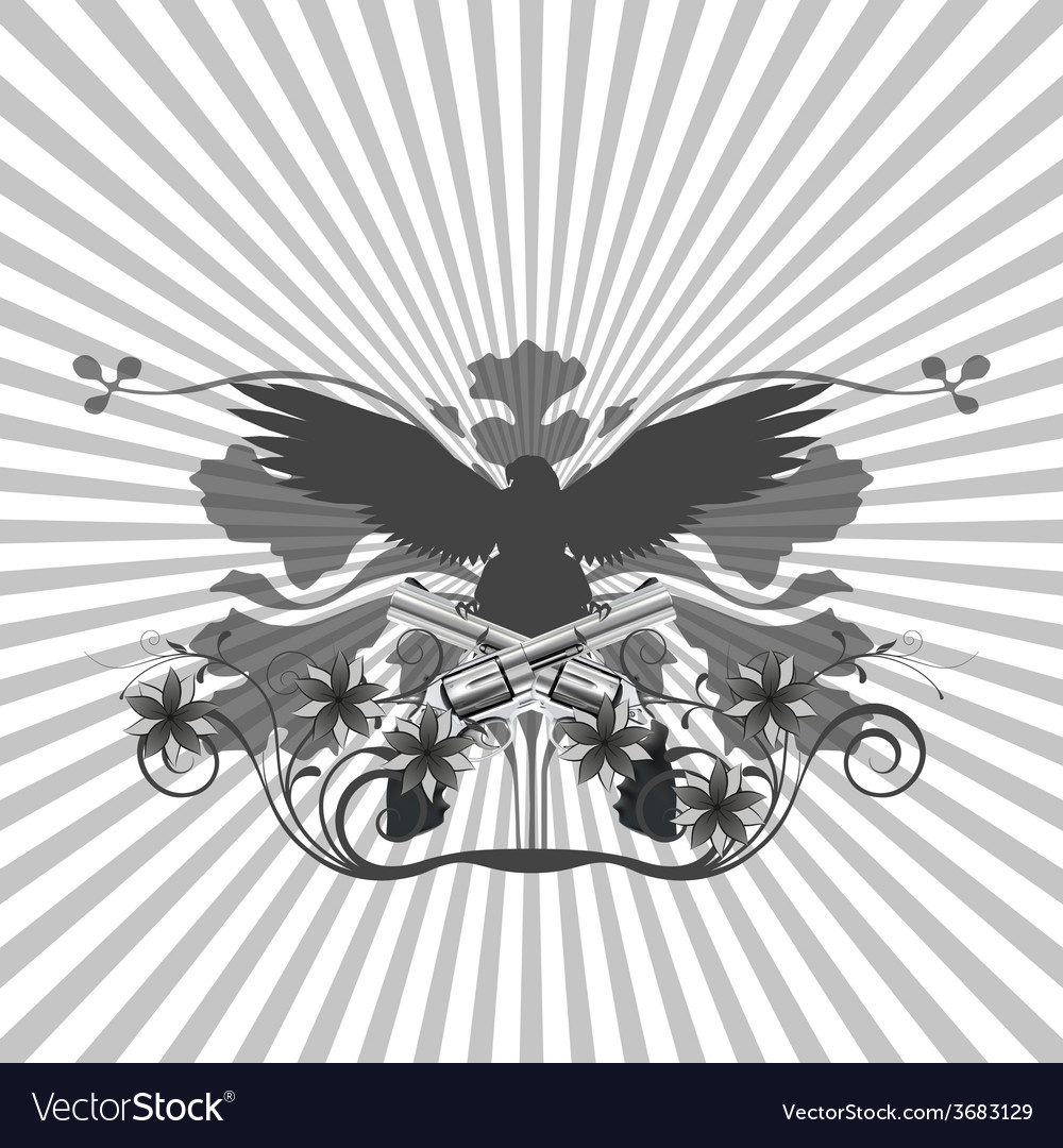Background pattern and an eagle with guns vector | Price: 1 Credit (USD $1)