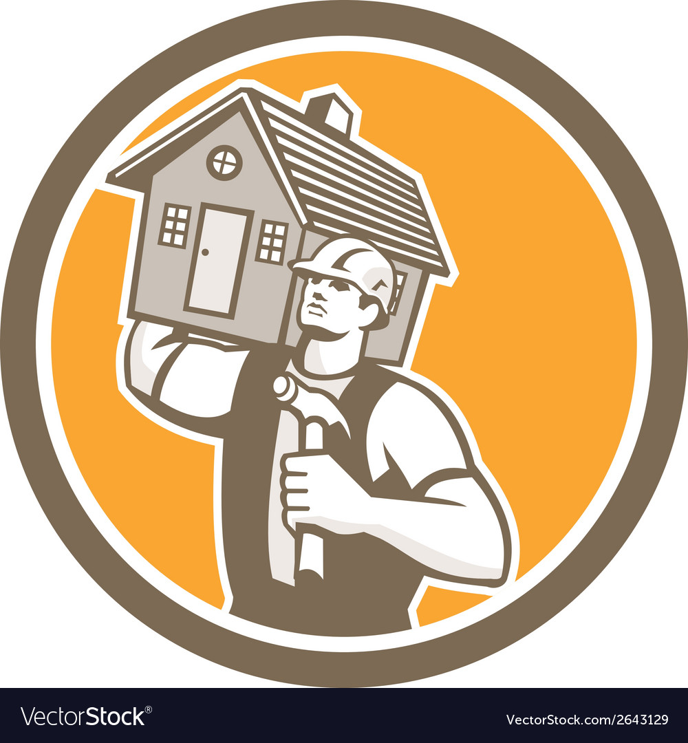 Builder carpenter carrying house hammer retro vector | Price: 1 Credit (USD $1)