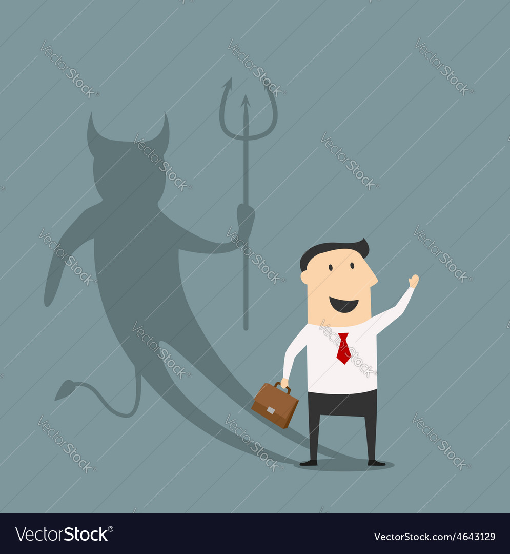 Cartoon businessman with true devil personality vector | Price: 1 Credit (USD $1)