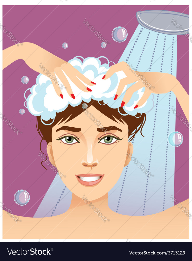 Cute young woman washing her hair eps10 vector | Price: 1 Credit (USD $1)