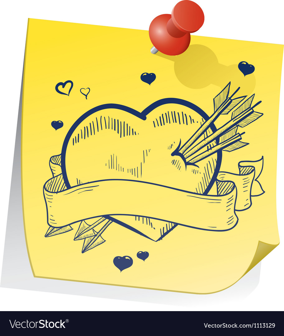 Doodle sticky note heart vector | Price: 1 Credit (USD $1)