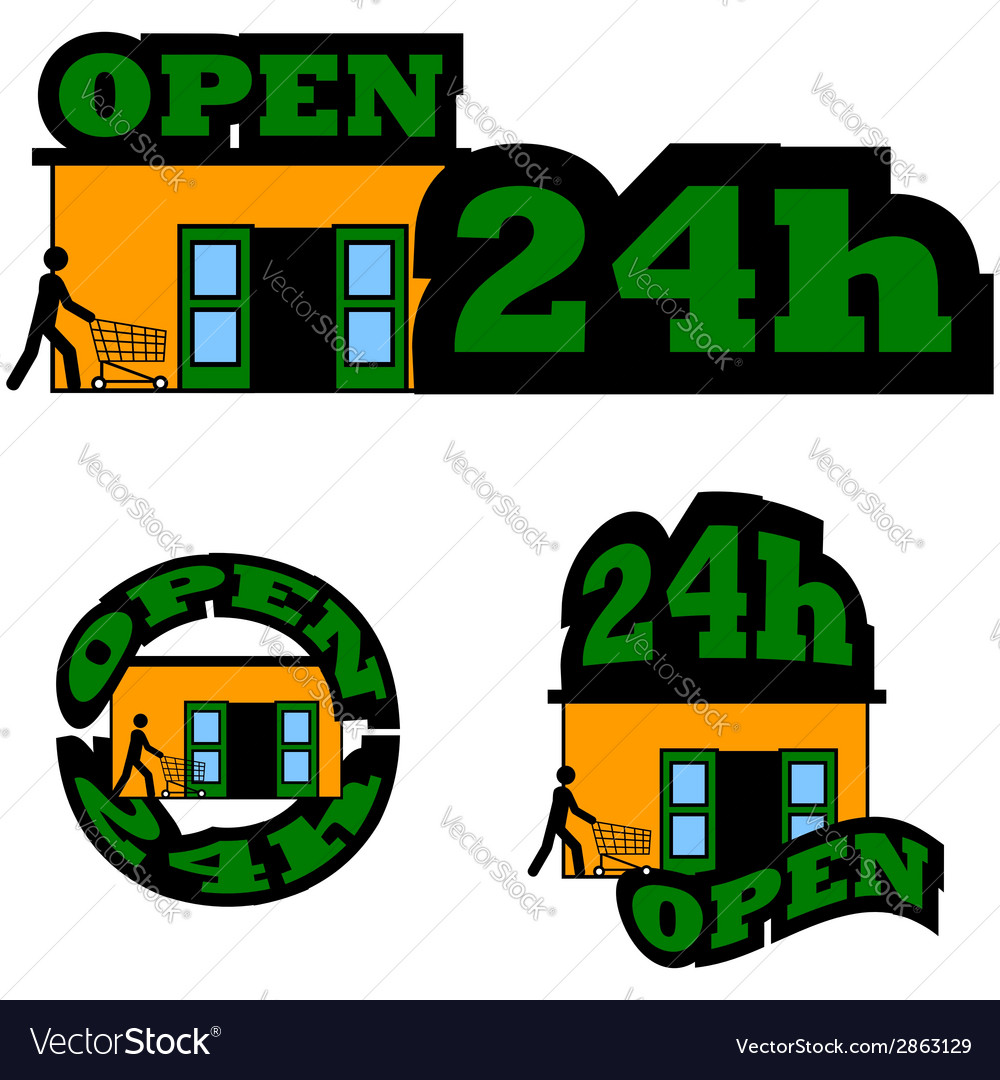 Open 24 hours vector | Price: 1 Credit (USD $1)