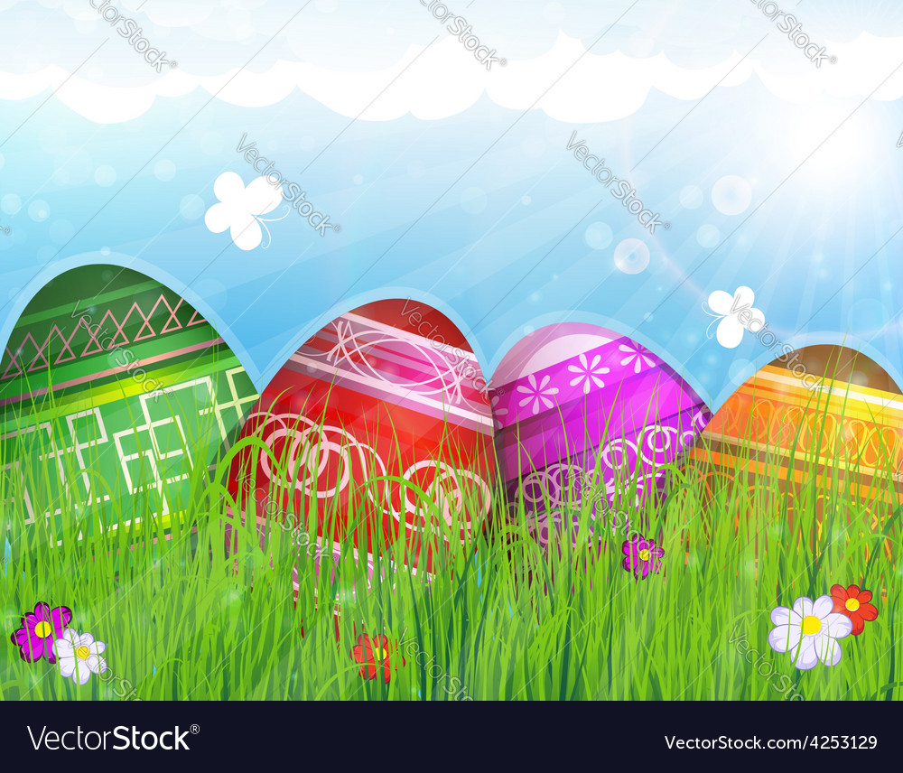 Painted easter eggs on meadow vector | Price: 3 Credit (USD $3)