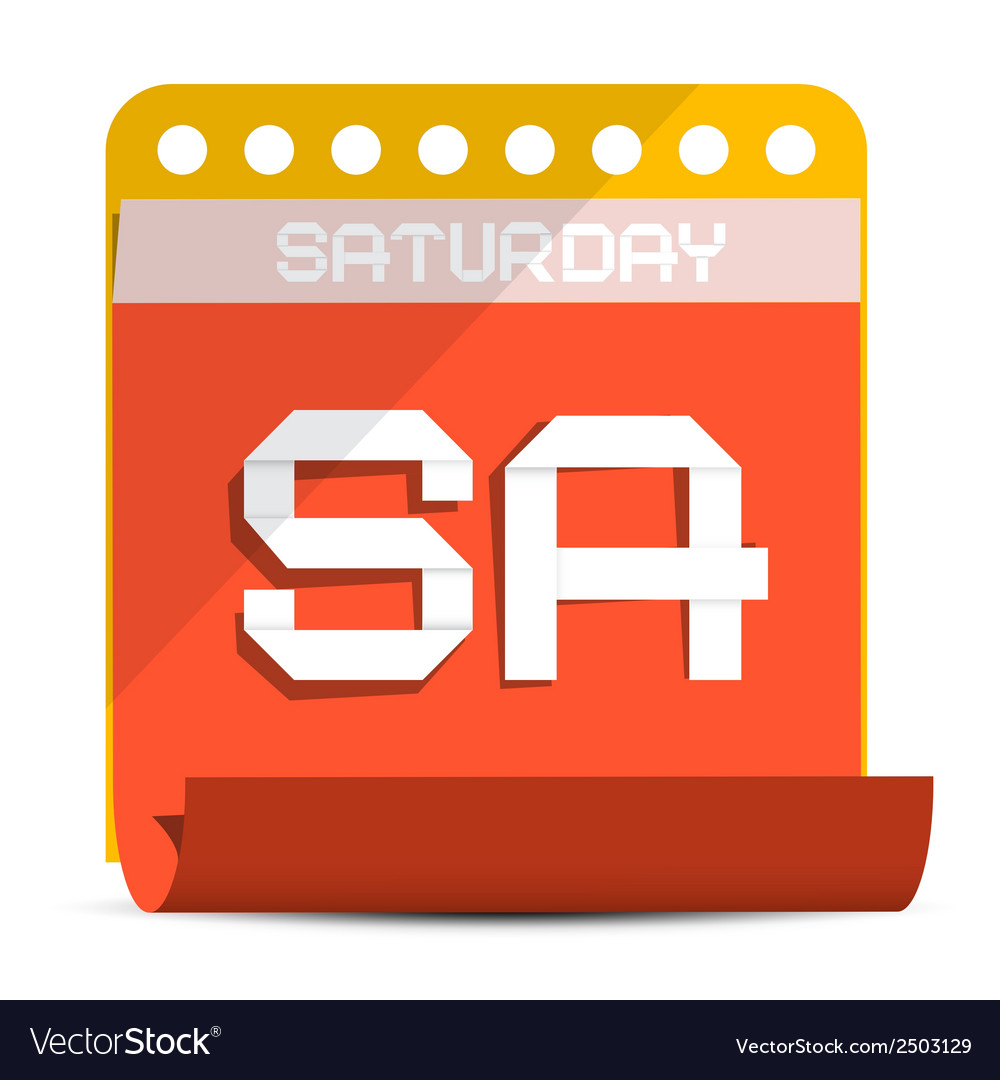 Saturday paper calendar vector | Price: 1 Credit (USD $1)