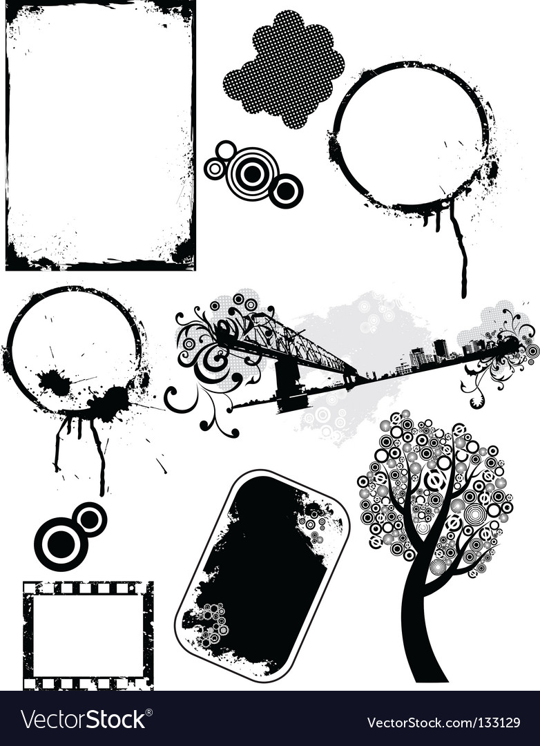 Set of grunge elements vector | Price: 1 Credit (USD $1)