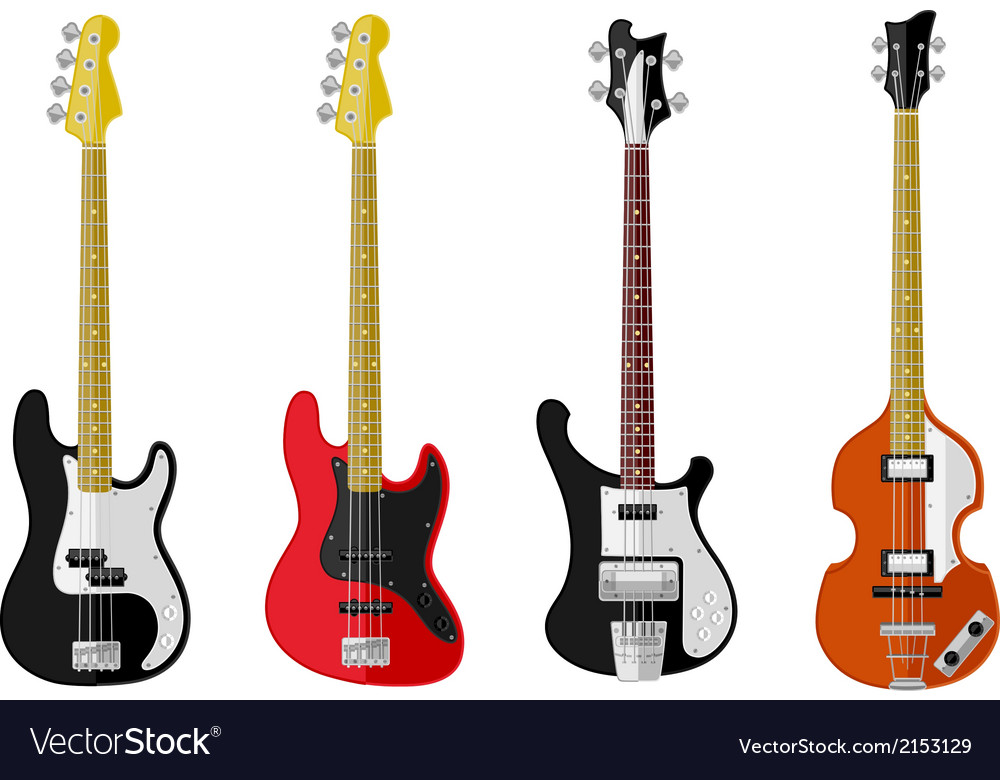 Set of isolated vintage bass guitars vector   Price: 1 Credit (USD $1)
