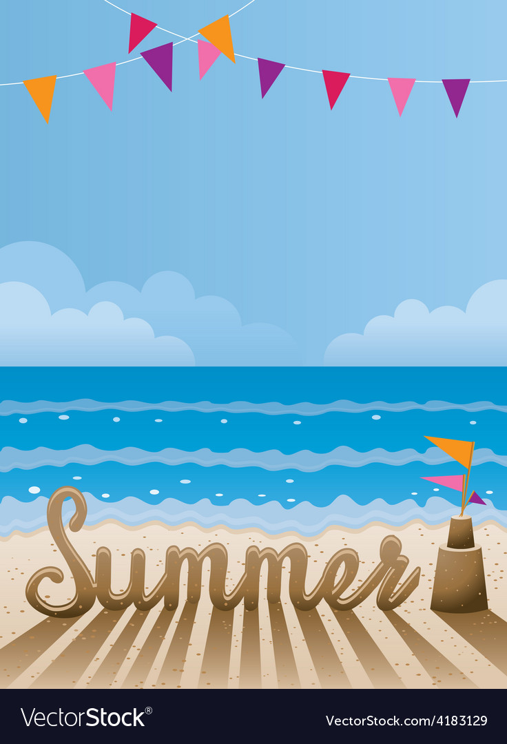 Summer text made from sand on the beach vector | Price: 3 Credit (USD $3)