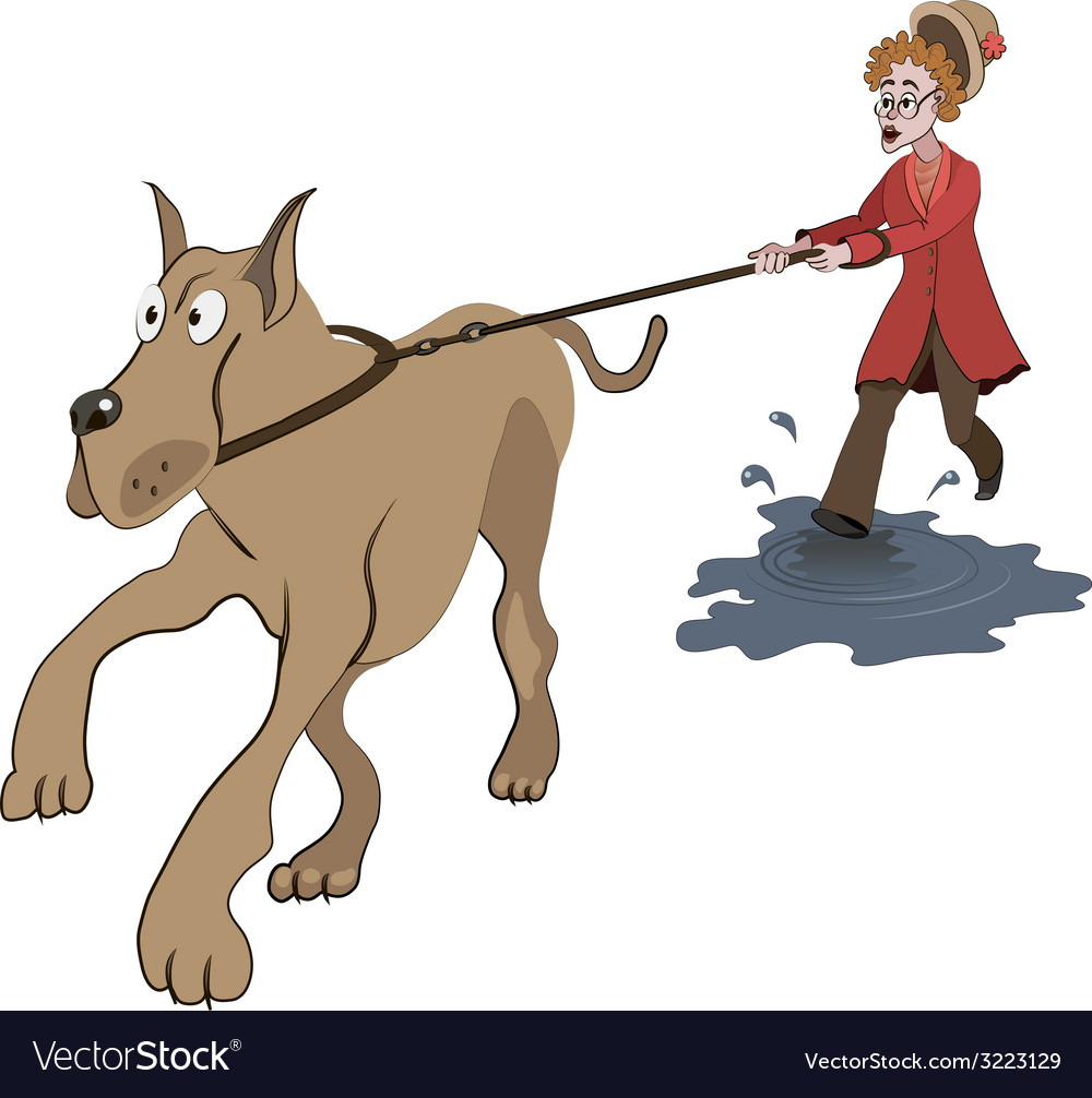 Woman trying to walk with big dog vector | Price: 1 Credit (USD $1)