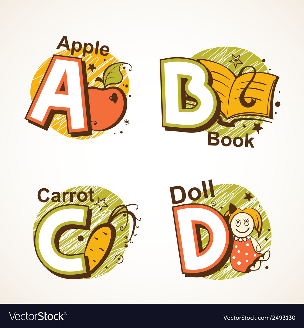 Alphabet set from a to d vector | Price: 1 Credit (USD $1)
