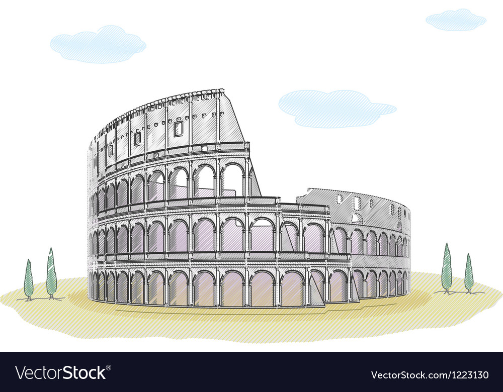Colosseum - sketch drawing vector | Price: 1 Credit (USD $1)