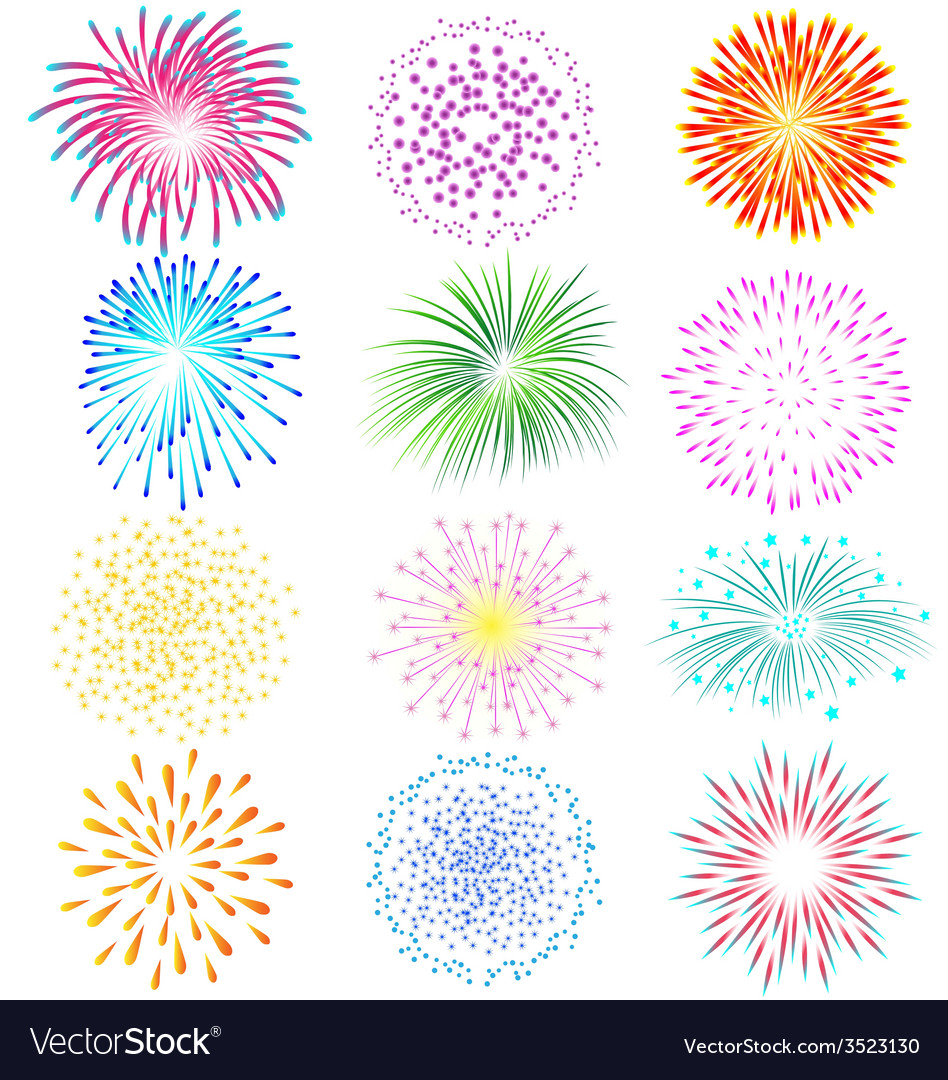Fireworks set on white background vector | Price: 1 Credit (USD $1)