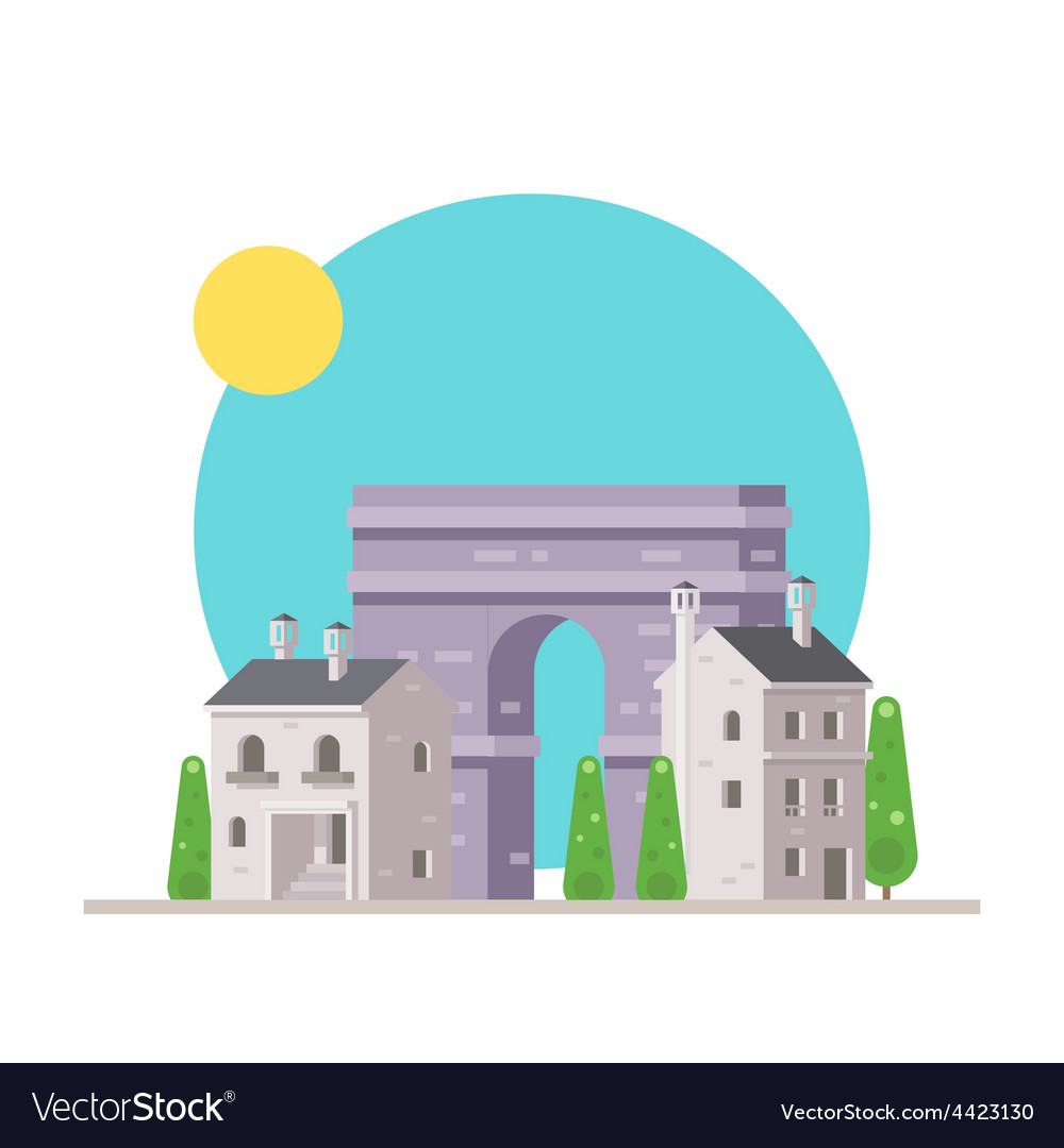 Flat design of arc de triomphe france with village vector | Price: 3 Credit (USD $3)