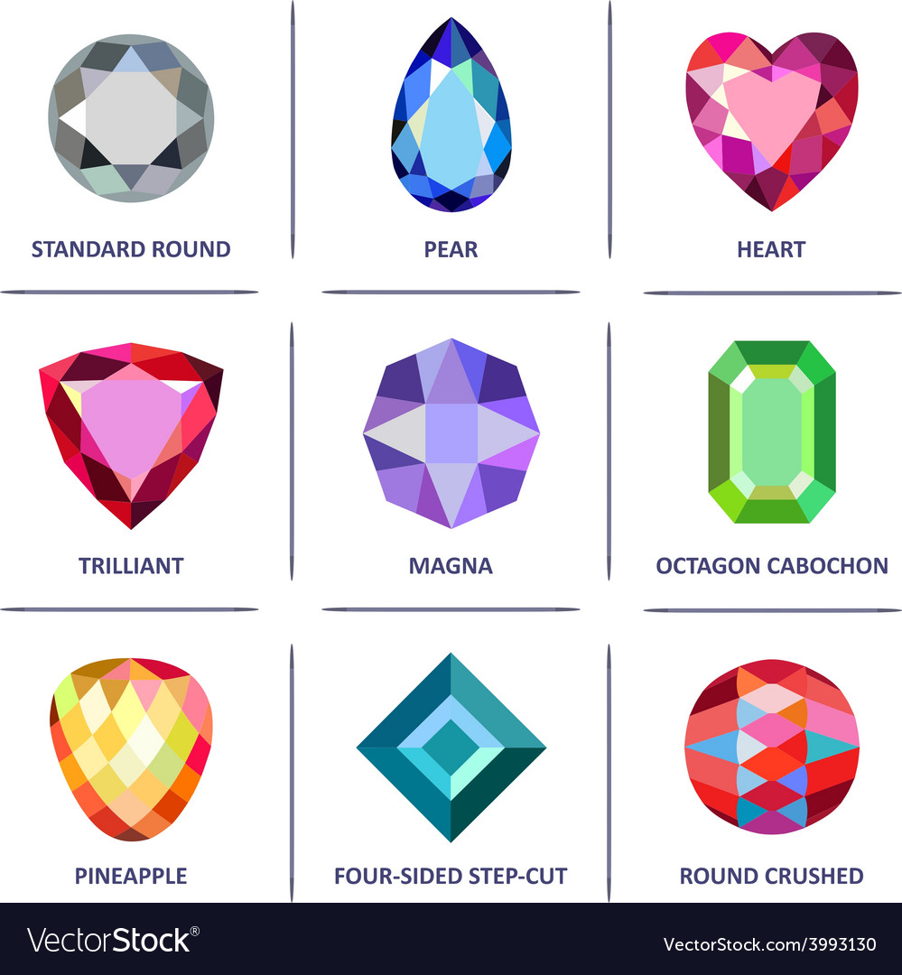 Low poly popular colored gems cuts infographics vector | Price: 1 Credit (USD $1)