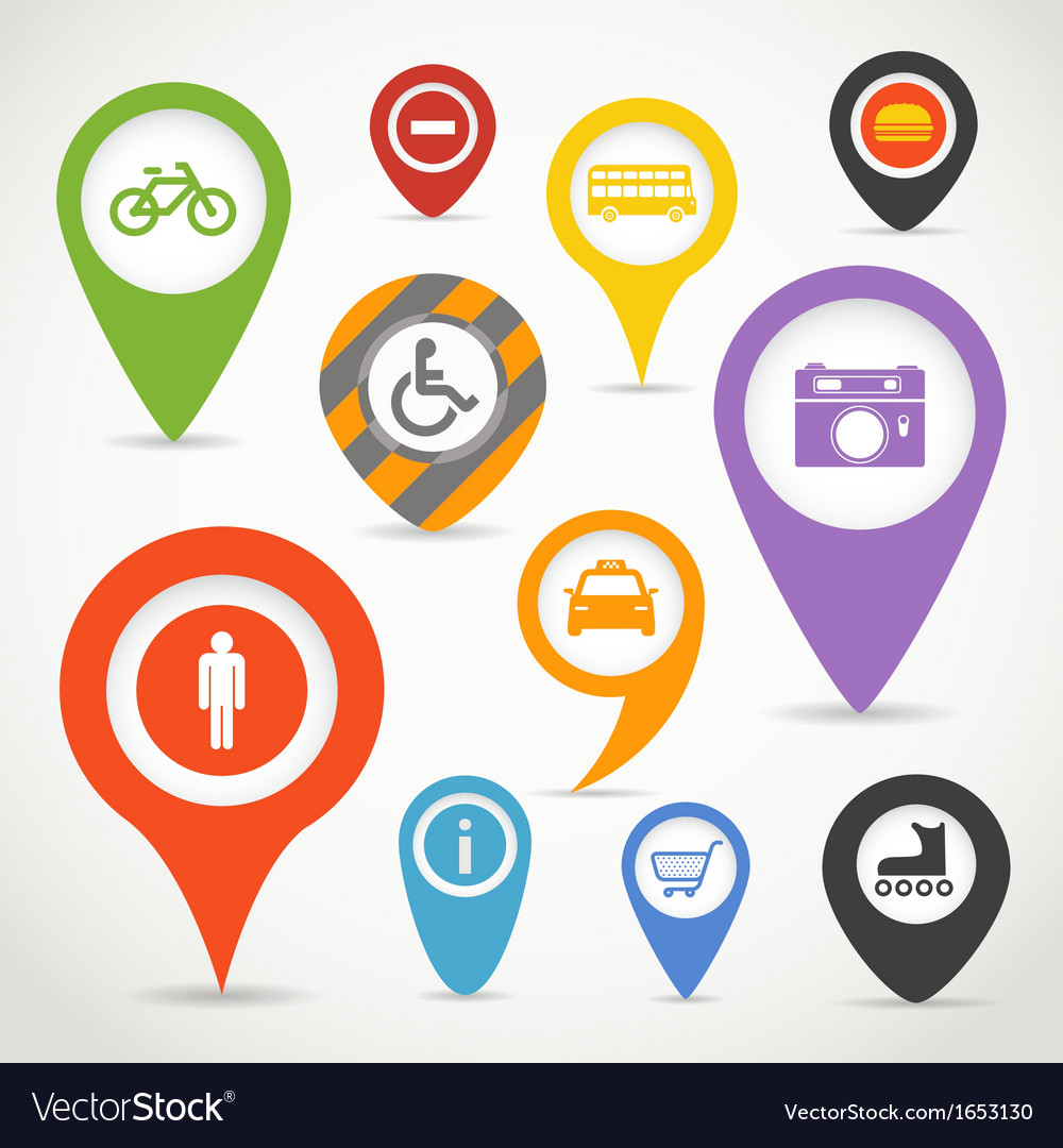 Navigation elements with transport icons vector | Price: 1 Credit (USD $1)