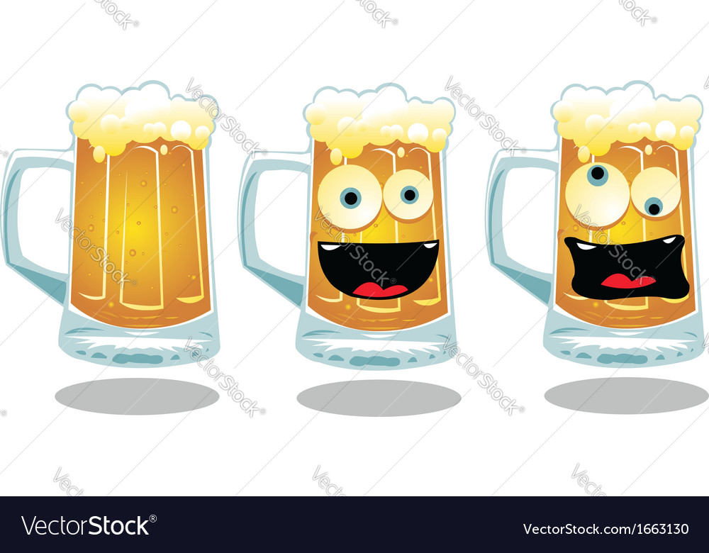 Normal and funny glasses of beer vector | Price: 1 Credit (USD $1)