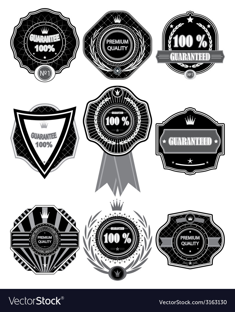 Premium quality labels with retro design vector | Price: 1 Credit (USD $1)