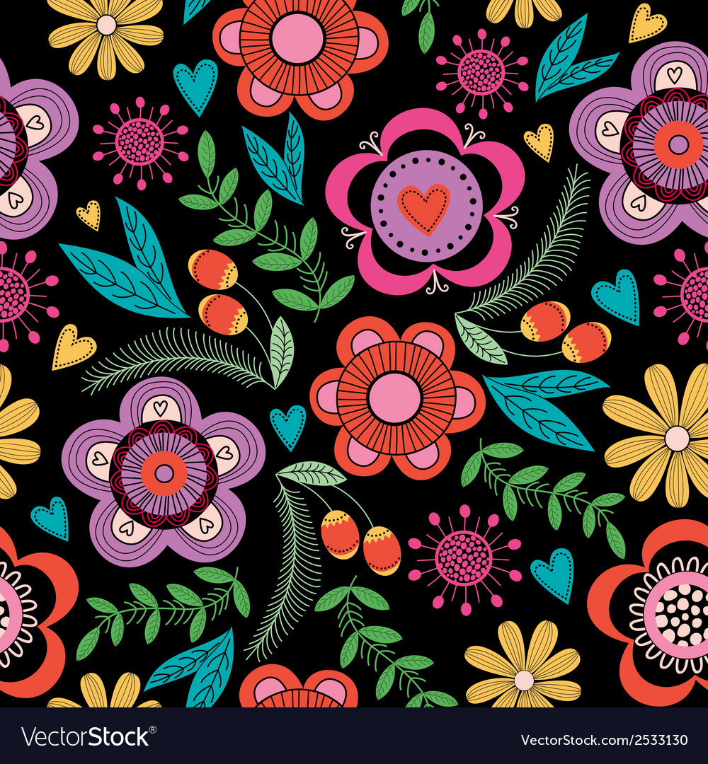 Seamless floral pattern on black background vector | Price: 1 Credit (USD $1)