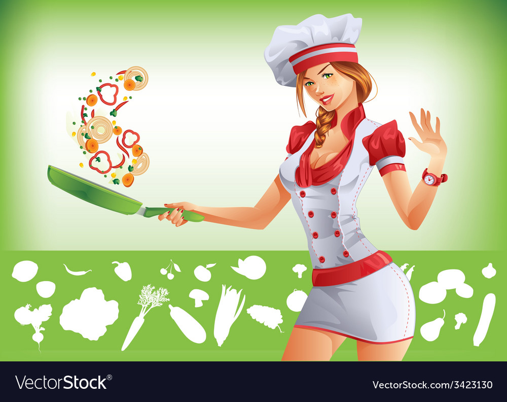 Sexy woman cooking vector | Price: 3 Credit (USD $3)