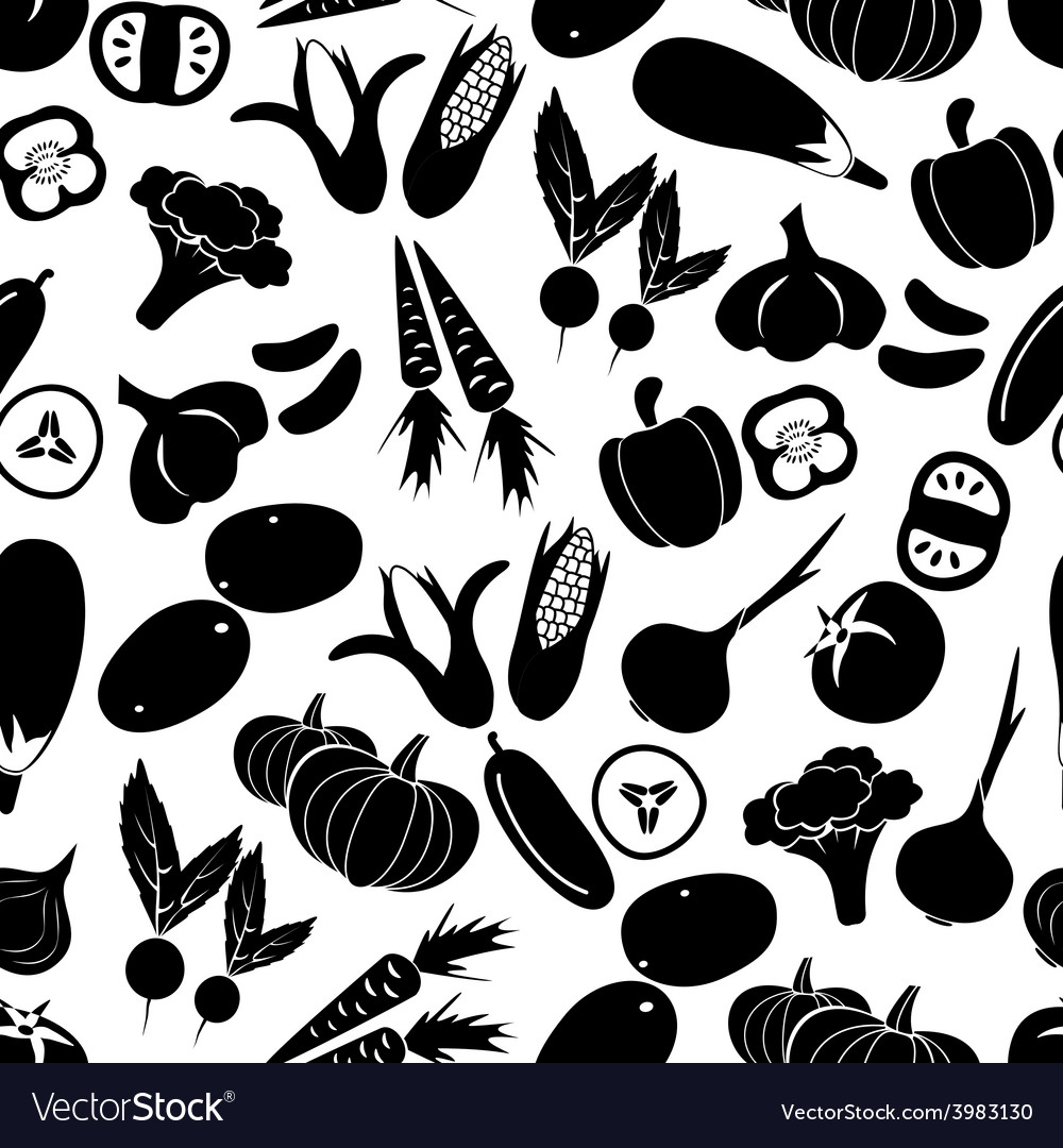 Simple black vegetables icons seamless pattern vector | Price: 1 Credit (USD $1)