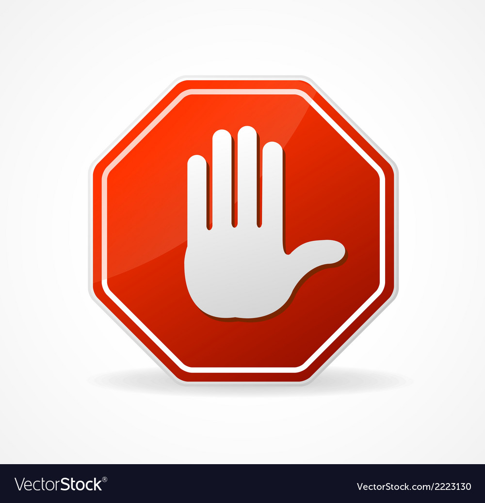 Stop sign red isolated on white vector | Price: 1 Credit (USD $1)