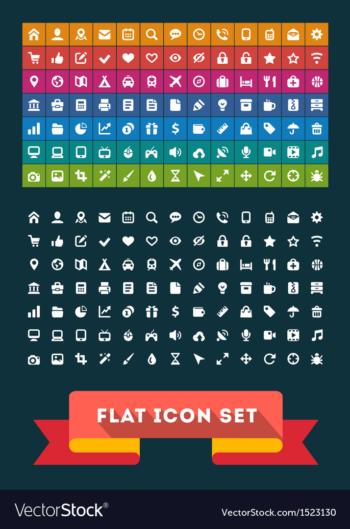 Universal flat icon set vector | Price: 3 Credit (USD $3)