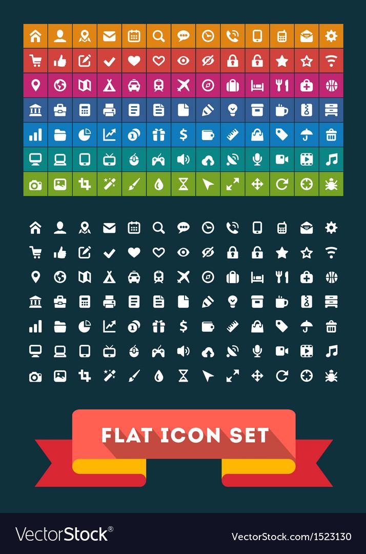Universal flat icon set vector   Price: 3 Credit (USD $3)