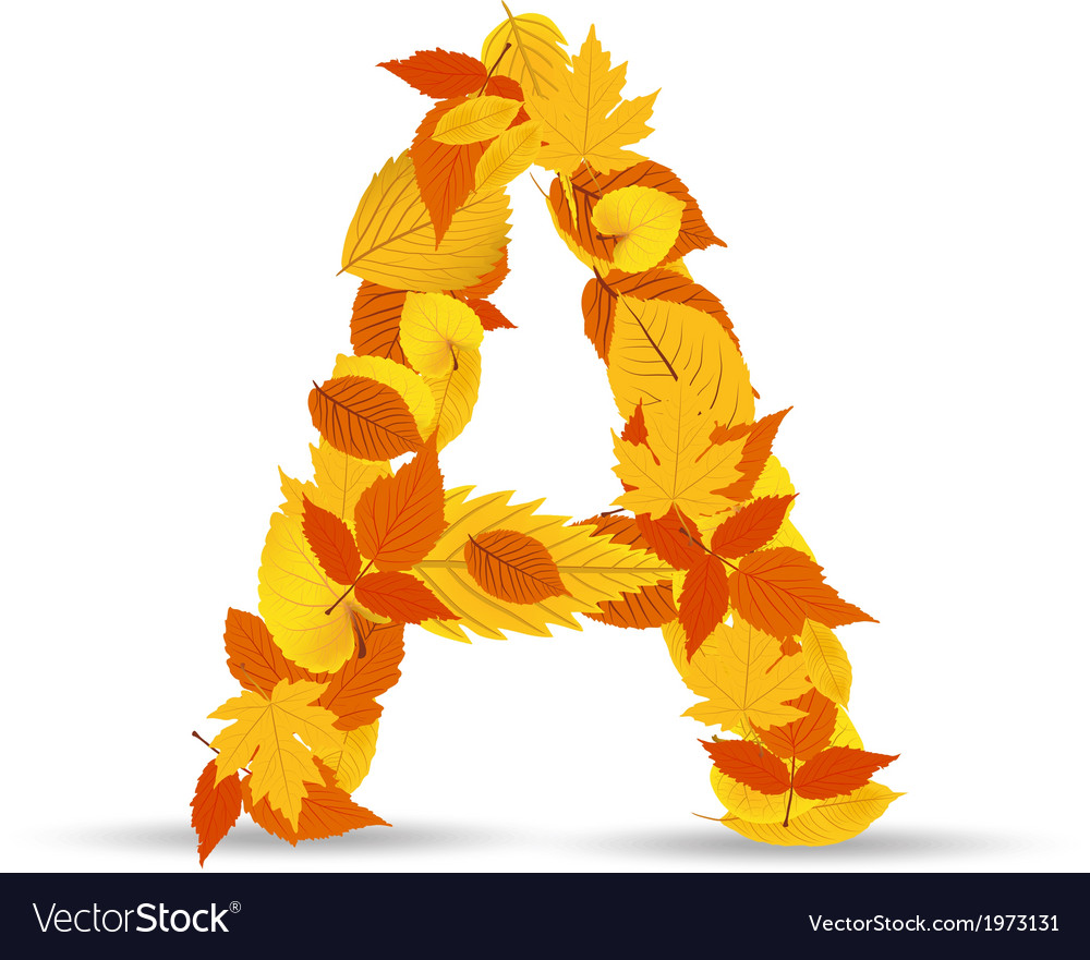 Autumn leaves font letter a vector   Price: 1 Credit (USD $1)