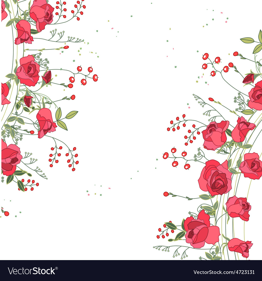 Backdrop with roses and herbs white and pink vector | Price: 1 Credit (USD $1)