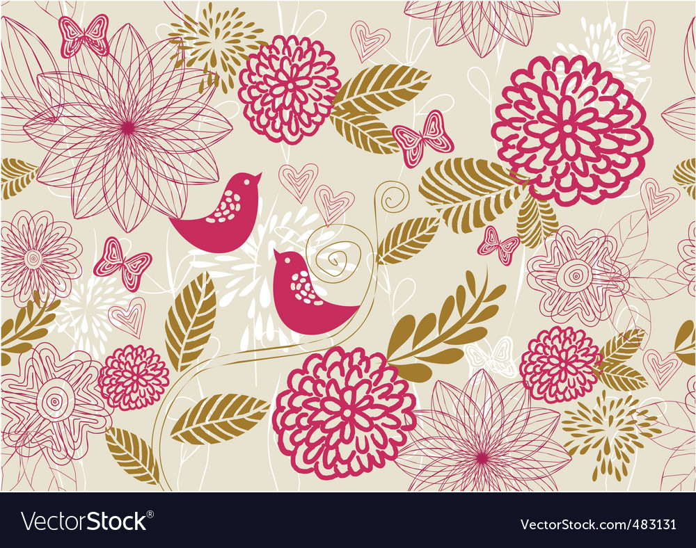 Bird floral pattern vector | Price: 1 Credit (USD $1)