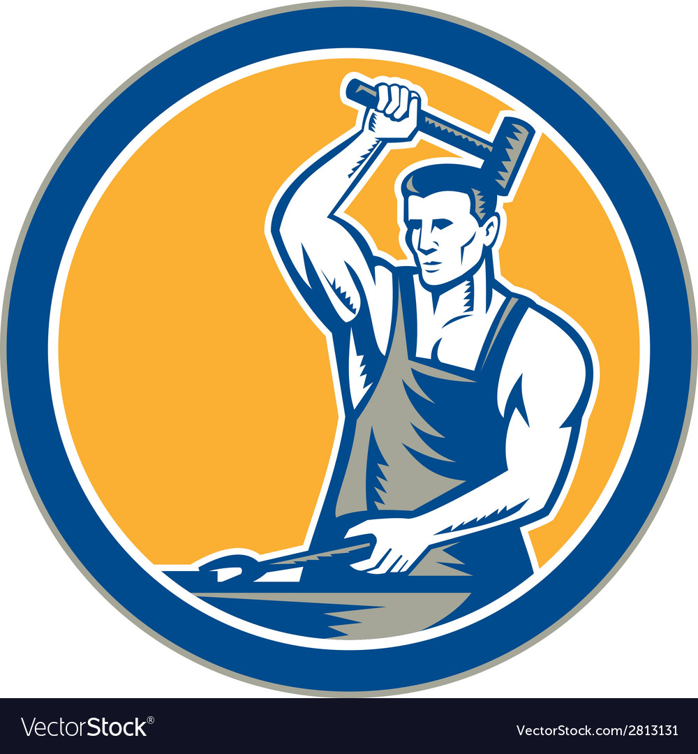 Blacksmith hammering pliers circle retro vector | Price: 1 Credit (USD $1)