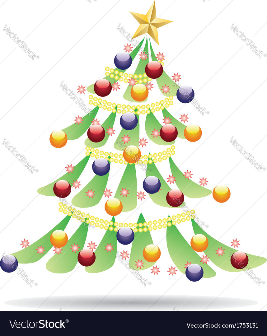 Decorated christmas tree2 vector | Price: 1 Credit (USD $1)