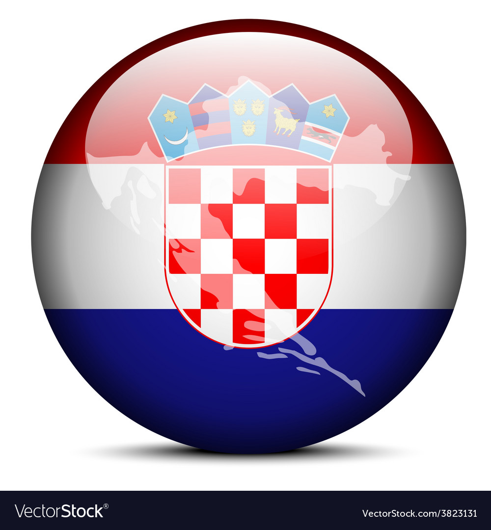 Map on flag button of republic of croatia vector | Price: 1 Credit (USD $1)