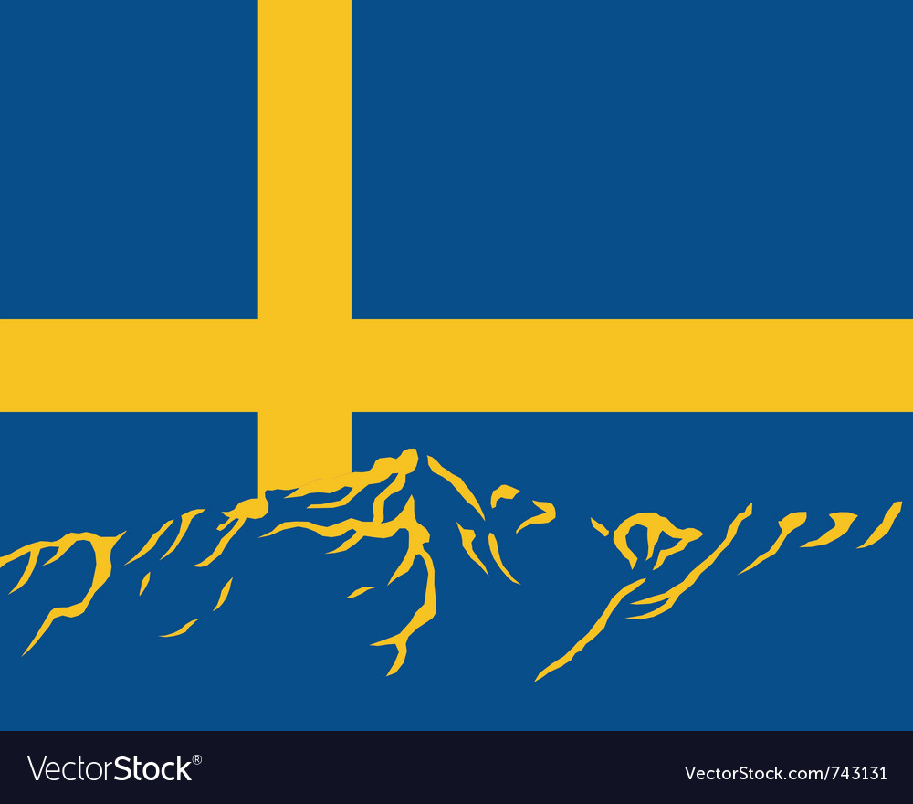 Mountains with flag of sweden vector | Price: 1 Credit (USD $1)